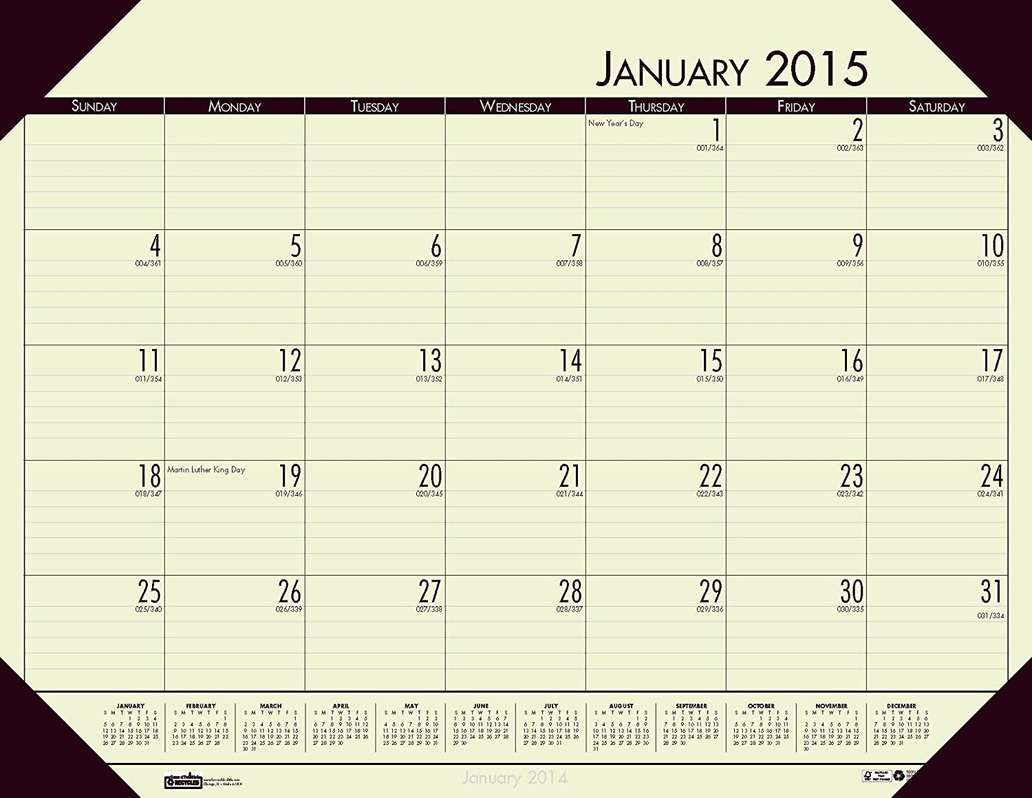 House of Doolittle Doolittle Doolittle EcoTone Tan Desk Pad Calendar 22 x 17 Inches 12 Months January 2015 to December 2015 Recycled (HOD12443) by House of Doolittle B00K23DOZS | Marke