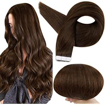 Amazon Com Fshine Tape In Hair Extensions Human Hair 12 Inch Short Hair Tape In Remy Hair Extensions Color 4 Fading To 24 Honey Blonde Highlight 4 Brown Tape In Hair 20