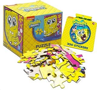Spongebob Squarepants Puzzle Super Set ~ Bundle Includes 48 Pc Spongebob Jigsaw Puzzle Cube with Over 300 Bonus Spongebob Stickers (Spongebob Squarepants Party Supplies)