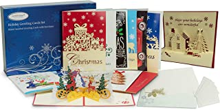 24 Christmas Cards Boxed   Handmade Xmas cards and 3D Christmas Cards with Envelopes   Includes Money and Gift Card Holder Stickers