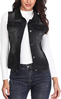 MISS MOLY Women's Denim Vest Distressed Cropped Washed Classic Jean Jackets W Chest Flap Pockets