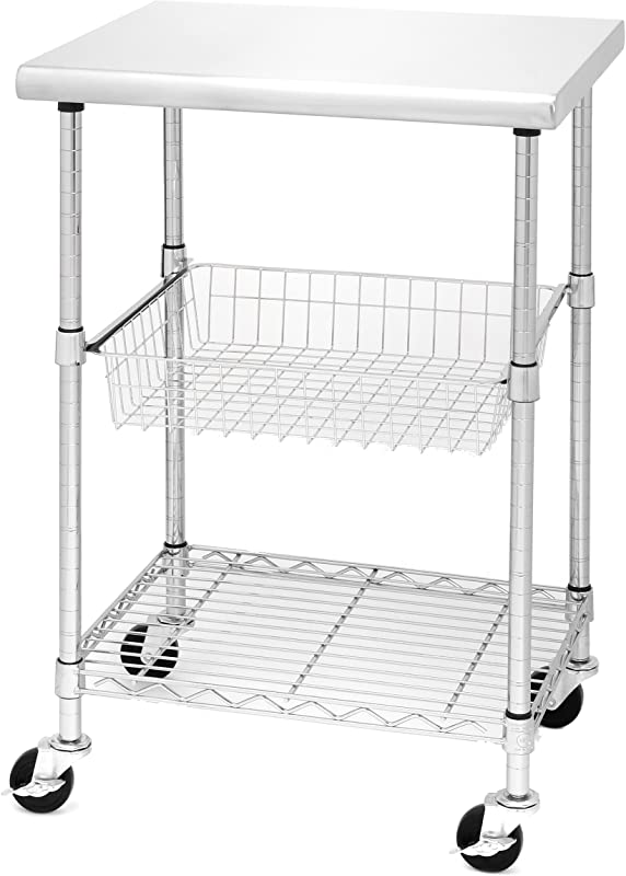 Seville Classics Stainless Steel NSF Certified Professional Kitchen Work Table Cart 24 W X 20 D X 36 H
