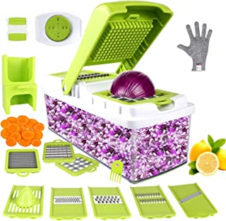 Vegetable Chopper, ONSON Food Chopper Cutter Onion Slicer Dicer, 10 in 1 Veggie Slicer Manual Mandoline for Garlic, Cabbage, Carrot, Potato, Tomato, Fruit, Salad