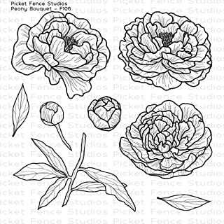 Picket Fence Studios - Peony Bouquet - Clear Cling Stamp Set # F106