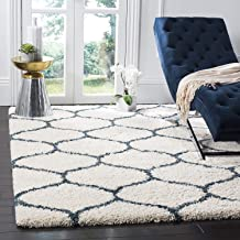 GOOD PRICE Antiskid Polyester Pile Carpet Runner for Home Decor -3 x 5 ft,Blue & Ivory