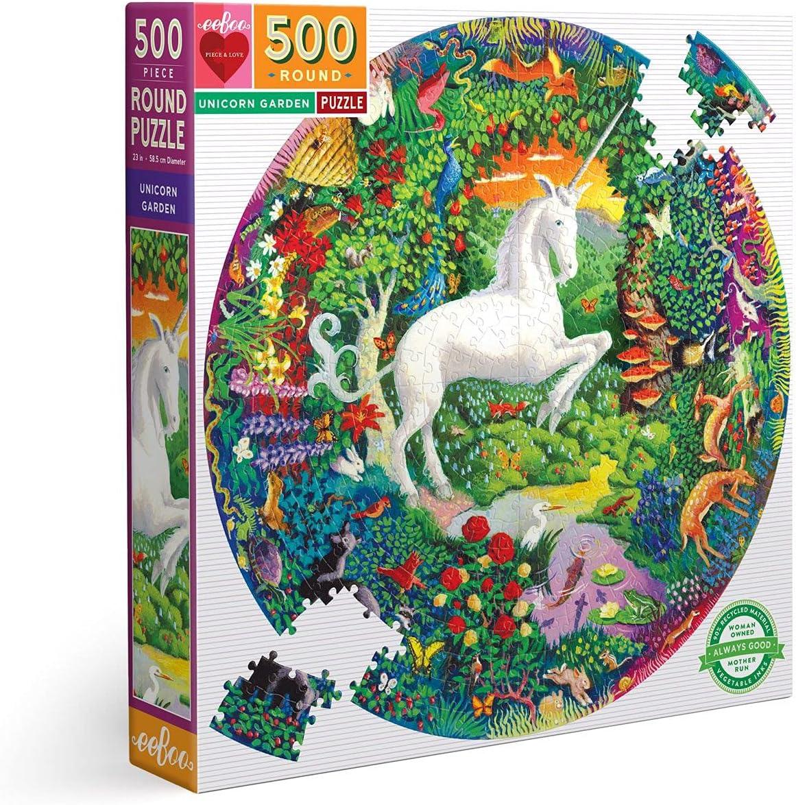 Under blast sales eeBoo Piece and Love Unicorn Round Jigsa 500 Garden Circle Max 66% OFF