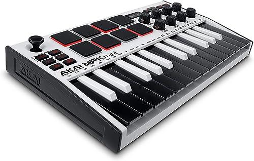 AKAI Professional MPK Mini MK3 White - Teclado Controlador MIDI USB de 25 Teclas con 8 Drum Pads, 8 Perillas y Softwa...