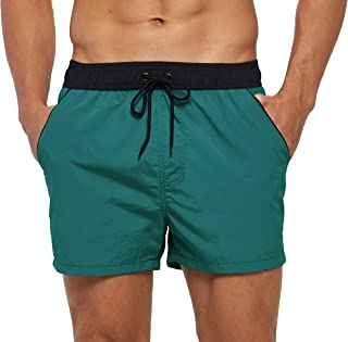 SILKWORLD Men's Quick Dry Swim Trunks Solid Swimsuit Sports Shorts with Back Zipper Pockets