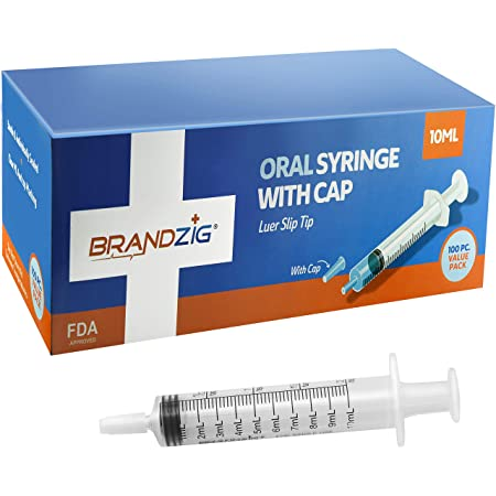 10ml Oral Syringe with Cap (100 Pack)   Oral Dispenser Without Needle, Luer Slip Tip   Individually Wrapped Medicine Dropper for Infants & Pets