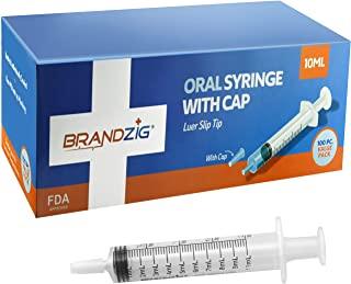 10ml Oral Syringe with Cap (100 Pack) | Oral Dispenser Without Needle, Luer Slip Tip, FDA Approved | Individually Wrapped Medicine Dropper for Infants & Pets