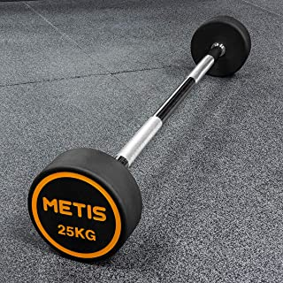 METIS Rubber Barbell Weights [10kg-30kg] Barbell Weights Sets with Handle | Exercise Equipment for Women & Men | Barbell Chrome Handle & Weights Set