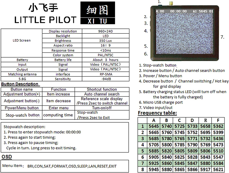 ghdonat.com RC Video Monitor 5.8G 2.5Inch LCD Monitor/Display ...