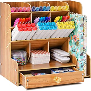 Marbrasse Upgraded Wooden Pen Organizer, Multi-Functional Pencil Holder with Bookend + Drawer, DIY Art Supply Organizer, E...