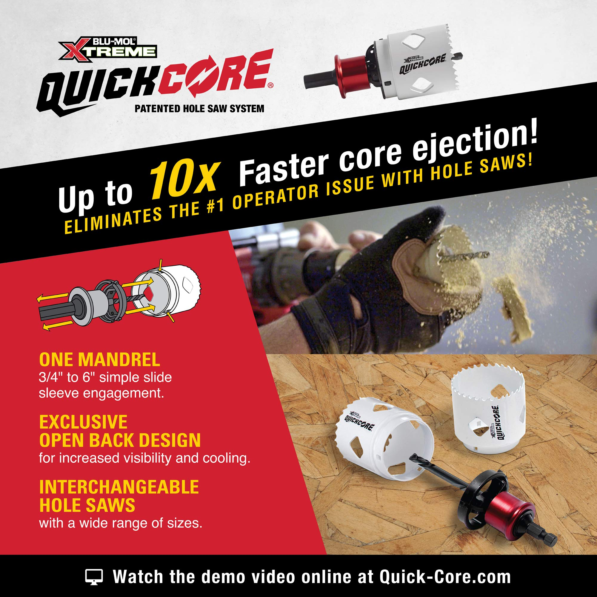 Quick Change 10X FASTER CORE EJECTION Part E0100208 Disston QUICKCORE 1 3//4 1 7//8 Depth of Cut