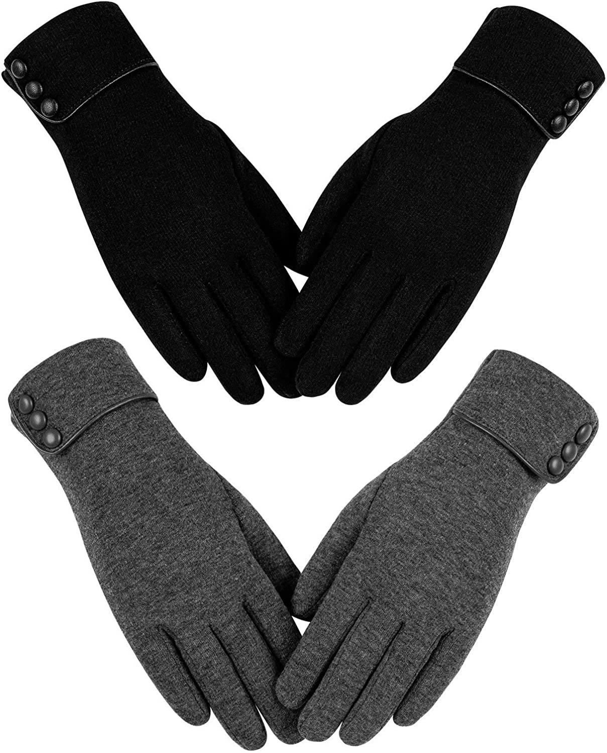Womens Winter Warm Gloves, Touchscreen Texting Fleece Lined Windproof Driving Gloves Hand Warmer By Alepo (Black&Dark Gray-M)