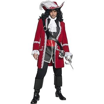 Atosa- Disfraz hombre capitán pirata, Color negro y rojo, XL ...