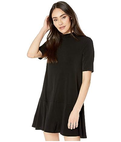 BCBGeneration Drop Waist Short Sleeve Dress XYE6263714 (Black) Women