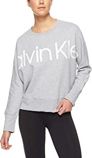 Calvin Klein Women's Long Sleeve Logo Fleece Oversized Pullover
