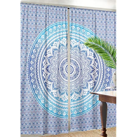Hippie Door Tapestry Curtain Mandala Indian Blue Flower Ombre Living Room Bohemian Window Hanging Indian 2 Panel Curtain Set 82 X 82 Inch