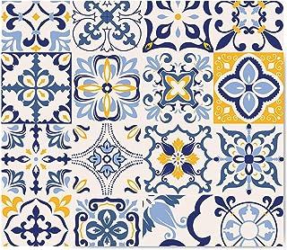 Mavi Çini Desen | Cam Ocak Arkası Koruyucu (52cm x 60cm)