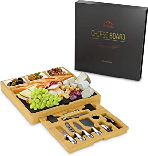 RedRocks Cheese Board and Knife Set 15 x 14 x 2 Inch With Slate and Hidden Slid-Out Drawer, 100% Organic Durable Hevea Wood, Perfect for Entertaining or Gift Giving