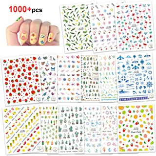 Konsait 1000+pcs Summer Nail Art Stickers Decals 3D Nail Sticker Wraps Manicure Flamingo Cactus Fruits Ocean Leaves Decals for Women Girls Kids Manicure DIY or Nail Salon