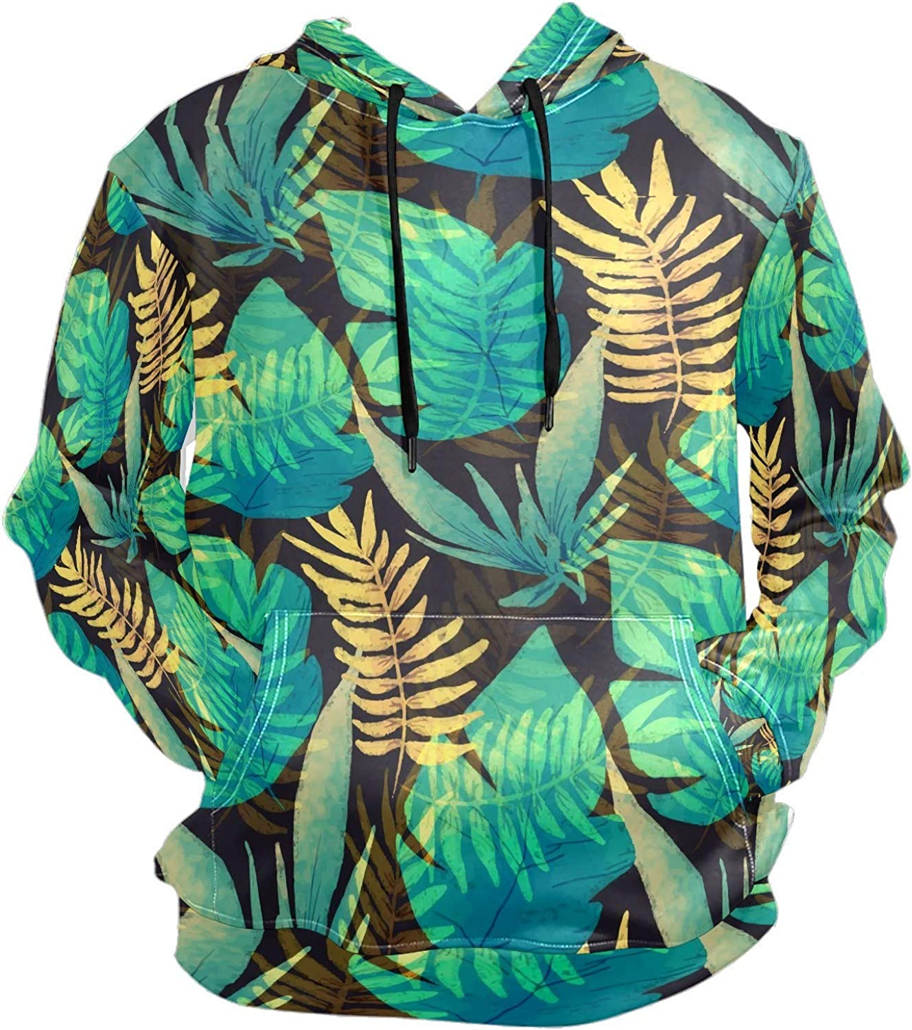 Men's Sport Hoodie Tropical Palm Leaves Green Gold Big and Tall Hoodies for Men Women Oversized Hooded Sweatshirt Hip Hop Pullover Hoodie Midweight Hood for Boys Girls