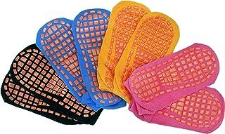 4 pairs Non-Slip Sticky Grippers Socks Pilates Ballet Barre Yoga Socks for Pregnant/Elderly Woman