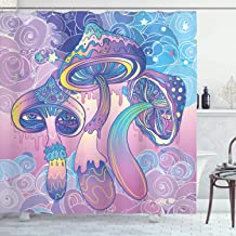 Ambesonne Mushroom Shower Curtain, Trippy Drawing Hippie Decor Sixties Visionary Psychedelic Shamanic, Fabric Bathroom Decor Set with Hooks, 84 Inches Extra Long, Aqua Light Pink Purple