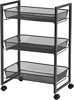 SONGMICS Rolling Cart, 3-Tier Serving Trolley with Wire Baskets, Space Saving, Easy Assembly, for Kitchen, Bathroom, Livin...