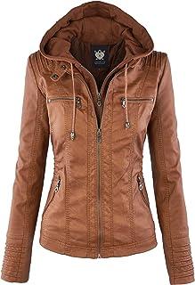 Women's Removable Hooded Faux Leather Moto Biker Jacket (XS~2XL)