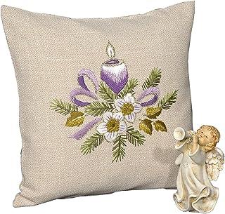 Tischdeckenshop24 Stickpackung Frohe Weihnachten lila Kerzen, Kissen Set vorgezeichnet zum Sticken, Kissenbezug Stickset mit Plattstich und Stielstich zu Weihnachten