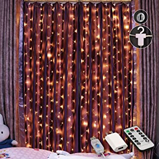 HXWEIYE 300 LED Window Curtain Lights, USB Plug in Adapter 8 Modes Fairy String Lights with Remote Controller for Indoor Outdoor Weddings Party Bedroom Home Wall Decorations(9.8x9.8Ft, Warm White)