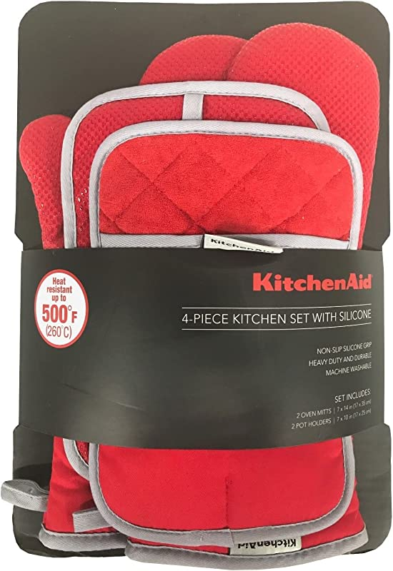 KitchenAid 4 Piece Kitchen Set W Silicone 2 Oven Mitts 2 Pot Holders Red