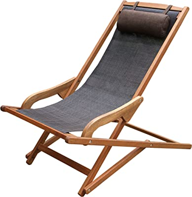 Outdoor Interiors Sling and Eucalyptus Lounger with Pillow