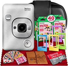 Fujifilm INSTAX Hybrid Mini LIPLAY (Stone White) + Fujifilm Instax Mini Instant Film (40 Shots) + Camera Case & 32GB Plati...