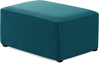 Hokway Ottoman Slipcovers Stretch Fabric Footrest Sofa Slipcovers Footstool Covers Storage Ottoman Protector Covers(Teal, Oversize)