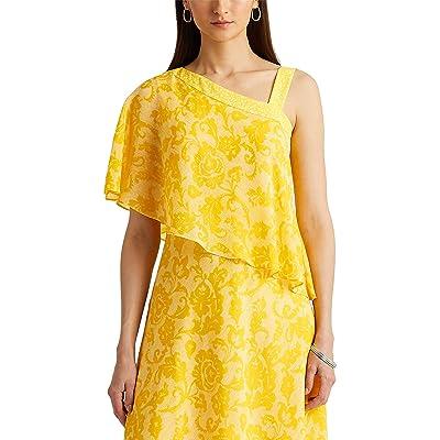 LAUREN Ralph Lauren Print Georgette One-Shoulder Dress