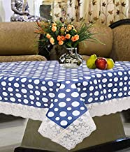 Kuber Industries Polka Dots Design PVC 4 Seater Center Table Cover (Blue)