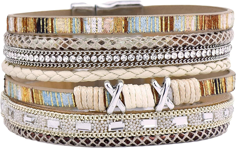 EZUY GNAY Braided Leather Multilayer Bracelet Ladies Boho Wrap Black Bracelets Handmade Jewelry Magnetic Closure Gift for Women