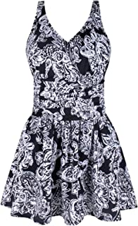 JINXUEER Women's Plus Size Swim Dress Floral Print Ruched Modest Slimming One Piece Skirt Swimsuit (16, Blackflower)