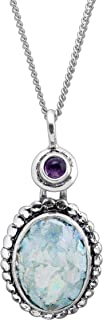 Silpada 'Augusta Taurinorum' Roman Glass & 1/10 ct Natural Amethyst Pendant Necklace in Sterling Silver