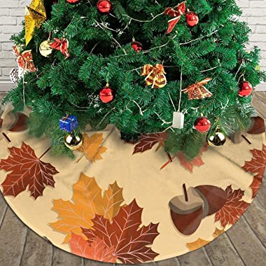 Fall Harvest Autumn Seasonal Leave Leaf Nut Themed Round Christmas Xmas Tree Skirt Carpet Mat Rugs Pad Party Favors Supplies