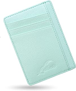 Lethnic Slim Wallet RFID Front Pocket Minimalist Wallet with Crossed Design