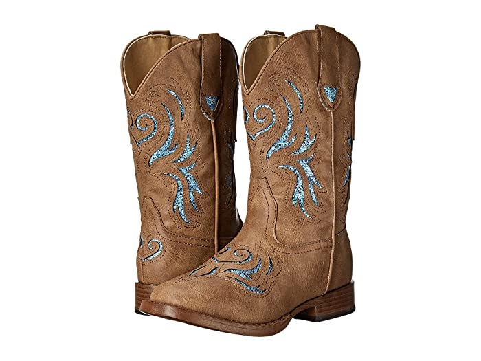 Roper Kids  Glitter Breeze (Toddler) (Light Beige Faux Leather Vamp) Cowboy Boots