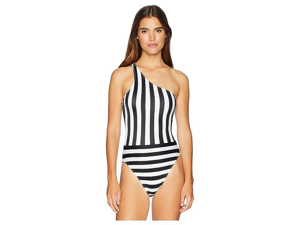 KAMALIKULTURE by Norma Kamali Spliced One Shoulder Mio (3/4 Stripe) Women's Swimsuits One Piece, White
