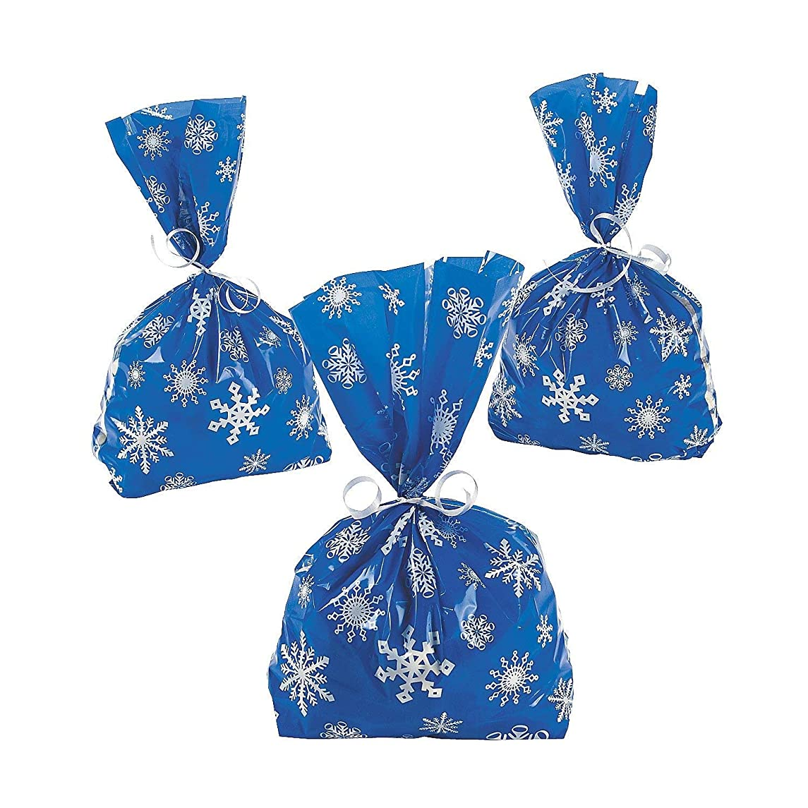 72 Blue SNOWFLAKE Cellophane GOODY Bags 6 DOZEN - WINTER/Christmas HOLIDAY/CELLO Bags/Favors/CANDY/SWEETS by FX