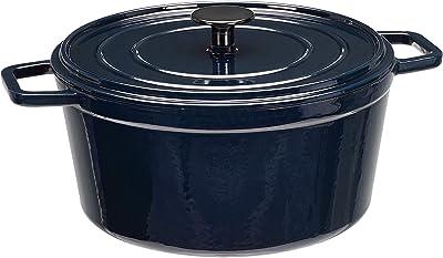 AmazonBasics Premium Enameled Cast Iron Dutch Oven, 5-Quart, Deep Blue