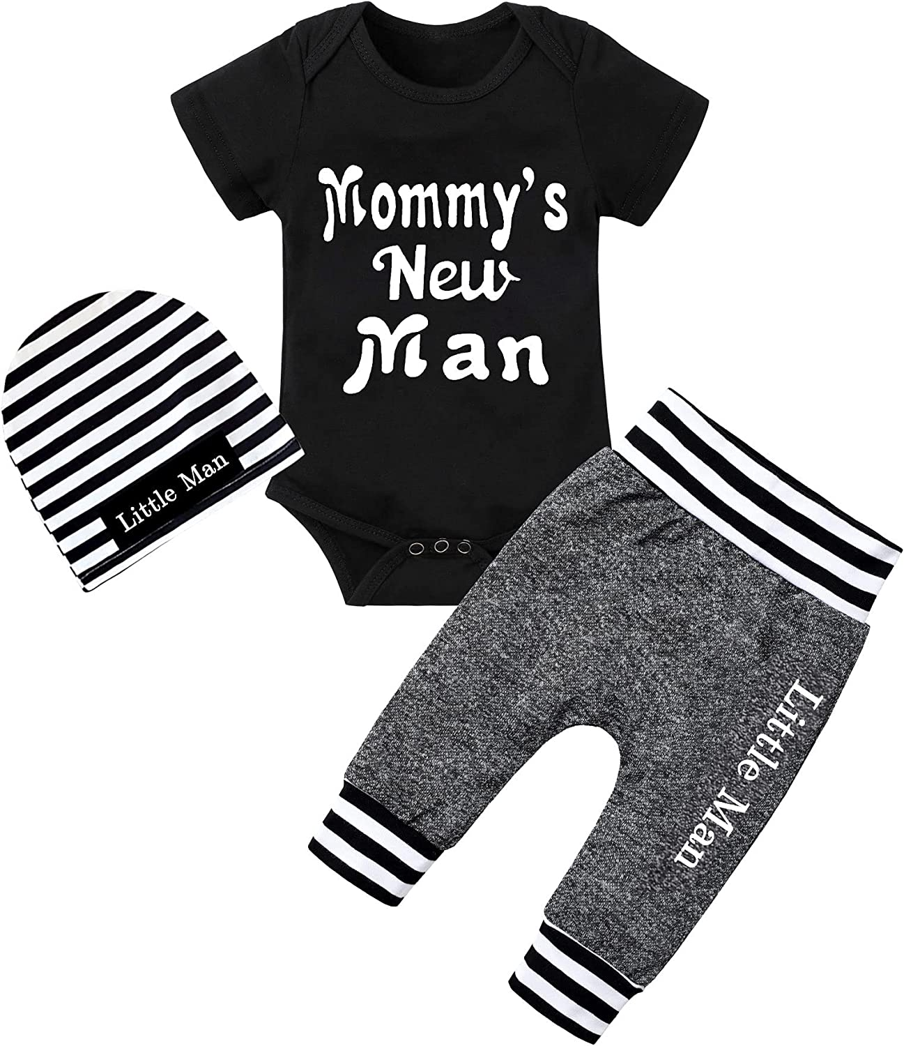 Newborn Baby Boy Clothes New to The Crew Letter Print Romper+ Pants+Hat 3PCS Outfit