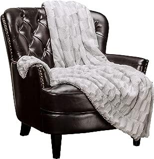Chanasya Super Soft Fuzzy Faux Fur Elegant Rectangular Embossed Throw Blanket | Fluffy Plush Sherpa Cream Microfiber Silver Blanket for Bed Couch Living Room Fall Winter Spring (50x65) - LightGrey